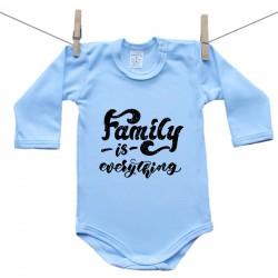 Modré body s dlouhým rukávem Family is everything