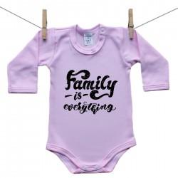Růžové body s dlouhým rukávem Family is everything