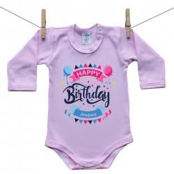 Růžové body s dlouhým rukávem Happy birthday s jménem dítěte