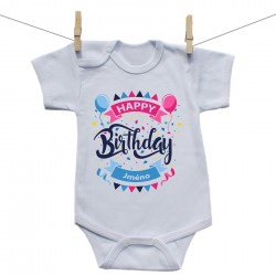 Body s krátkým rukávem Happy birthday s jménem dítěte