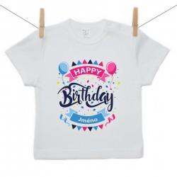 Tričko s krátkým rukávem Happy birthday s jménem dítěte