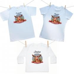 Rodinná sada (tričko s dlouhým rukávem) Veselé Vánoce se sobíkem a jménem dítěte