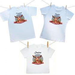 Rodinná sada (tričko s krátkým rukávem) Veselé Vánoce se sobíkem a jménem dítěte