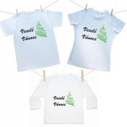 Rodinná sada (tričko s dlouhým rukávem) Veselé Vánoce se stromečkem