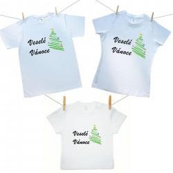 Rodinná sada (tričko s krátkým rukávem) Veselé Vánoce se stromečkem