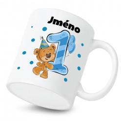 Hrnek Mám 1 rok s Medvídkem a jménem dítěte Chlapec