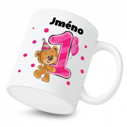 Hrnek Mám 1 rok s Medvídkem a jménem dítěte Dívka