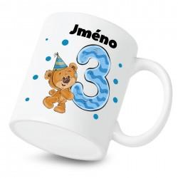 Hrnek Mám 3 roky s Medvídkem a jménem dítěte Chlapec