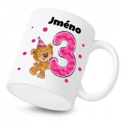 Hrnek Mám 3 roky s Medvídkem a jménem dítěte Dívka