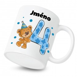 Hrnek Mám 4 roky s Medvídkem a jménem dítěte Chlapec