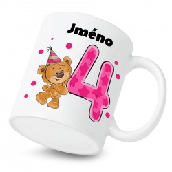Hrnek Mám 4 roky s Medvídkem a jménem dítěte Dívka