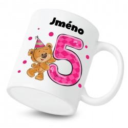 Hrnek Mám 5 let s Medvídkem a jménem dítěte Dívka