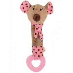 Dětská pískací plyšová hračka s kousátkem Baby Mix myška růžová
