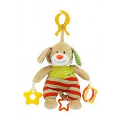 Plyšová hračka s hracím strojkem Baby Mix Pejsek s kapucí béžový