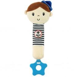 Dětská pískací plyšová hračka s kousátkem Baby Mix námořník kluk
