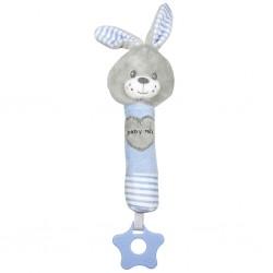 Dětská pískací plyšová hračka s kousátkem Baby Mix králík modrý