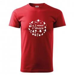 Červené pánské triko Veselé Vánoce