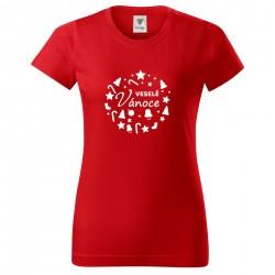 Červené dámské triko Veselé Vánoce
