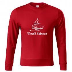 Červená mikina Veselé Vánoce se stromečkem