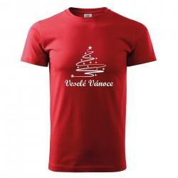 Červené pánské triko Veselé Vánoce se stromečkem