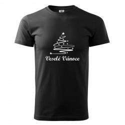 Černé pánské triko Veselé Vánoce se stromečkem