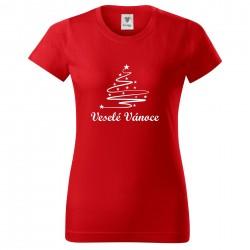 Červené dámské triko Veselé Vánoce se stromečkem