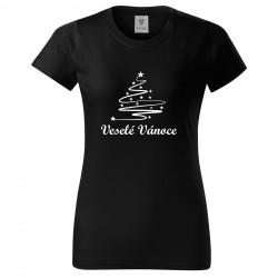 Černé dámské triko Veselé Vánoce se stromečkem