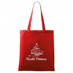 Červená taška Veselé Vánoce se stromečkem