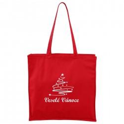 Červená Maxi taška Veselé Vánoce se stromečkem