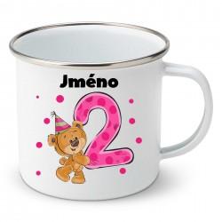 Smaltovaný hrnek Mám 2 roky s Medvídkem a jménem dítěte Dívka
