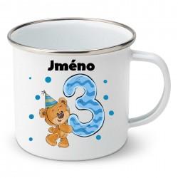 Smaltovaný hrnek Mám 3 roky s Medvídkem a jménem dítěte Chlapec